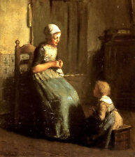 Charming Oil painting The Knitting Lesson - young mother with her child canvas