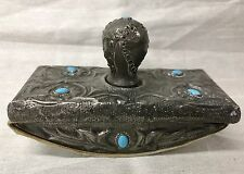Beautiful Art Nouveau Antique Pewter Blue Gemstone & Foliage Design Ink Blotter
