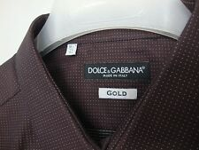 Dolce & Gabbana Gold Edition Dress Shirt 16.5 42 Made in Italy Burgundy Dotted
