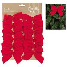 12 Pack 12cm Red Velvet Bows Christmas Tree Decoration