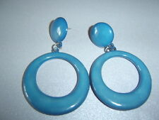 Retro Vintage Chunky Petrol Blue Resin Button Stud & Hoop Dangle Earrings