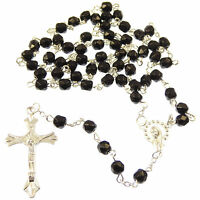 Long black glass rosary beads with silver our lady center faceted necklace