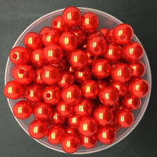 Wholesale 50PCS 8mm Red Acrylic Round Pearl Spacer Loose Beads Jewelry Making
