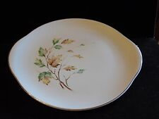 Vintage French Saxon China Breeze Handle Cake Plate Serving Plate Leaves Autumn