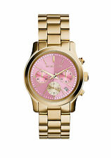 Michael Kors MK6161 Pink Dial Runway Gold Women Watch Chrono 38MM NEW AUTHENTIC