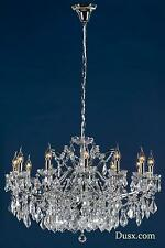 DUSX Vivianne Chrome & Clear Crystal Glass 12 Arm Large Chandelier Ceiling Light