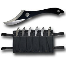 6 Piece 7 Inch Full Tang Ninja Black Throwing Knife set & Leg Sheath Holster