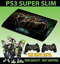 Playstation Ps3 Super Slim Teenage Mutant Ninja Turtle Skin Sticker & 2 Pad Skin