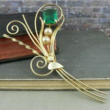 Vintage Gold Over Sterling Silver Bouquet Pin w/ Green Stone & Faux Pearls