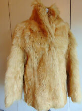Vintage 1970s real fur coat honey blonde goat fur long shaggy jacket 12-14 UK