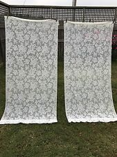 PAIR OF VINTAGE 1980'S ERA POLYESTER FLORAL LACE CURTAIN PANELS