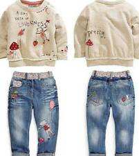 2Pcs Toddler Girl Kids Clothes Long Sleeve Tops+Denim pants Set Outfits Size6-7Y