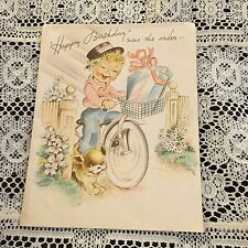 Vintage Greeting Card Birthday Delivery Boy Bicycle Dog