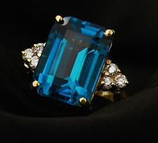 Estate 9.85Ct Natural LONDON BLUE TOPAZ & Diamond 14K Solid Yellow Gold Ring