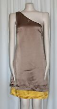 ONE SHOULDER DRESS JALOUX TAUPE AND YELLOW SHIFT SATIN COCKTAIL DRESS