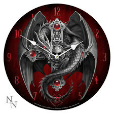 "ANNE STOKES GOTHIC SKULL CRUCIFIX DRAGON GUARDIAN PLATE WALL CLOCK 13.5""D"