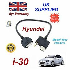 For Hyundai i30 iPhone 3gs 4 4s iPod USB & 3.5 mm Aux Audio Cable MY 2009-2012
