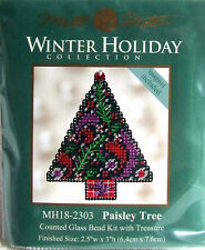 Mill Hill Counted Cross Stitch Bead Kit Christmas 'Paisley Tree' Magnet 18-2303
