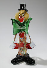 Venetian Murano Art Glass Clown with Green Bow Tie Black Hat