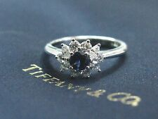 Tiffany & Co Platinum Gem Sapphire Multi Shape Diamond Jewelry Ring .96Ct