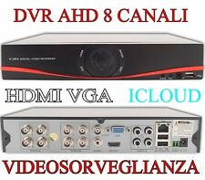DVR 8 CANALI AHD HDMI VGA ICLOUD DIGITAL VIDEO RECORDER H.264 VIDEOSORVEGLIANZA