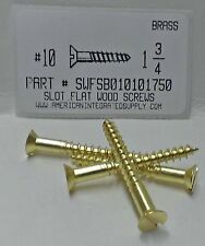 #10x1-3/4 Flat Head Slotted Wood Screws Solid Brass (10)
