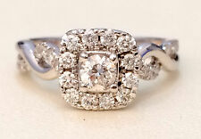 14k White Gold Halo Vintage Style Infinity Bypass Shank Engagement Ring 3/4ct