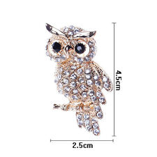 Fine Fashion Gold Plated Owl Shiny Crystal Lady Jewelry Rhinestone Brooches