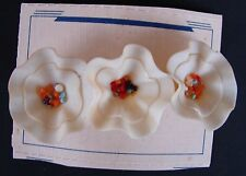 Vintage Barrettes - 1940's Cream Celluloid w/Vermecilli Czech Flower Barrette