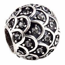 Original 925 Sterling Silber Zirkonia Beads Pavé Ornamente Glitzer Charm CZ014