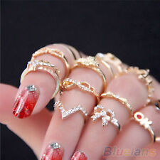 1 Set 7pcs Womens New Popular Bowknot Knuckle Midi Mid Finger Tip Stacking Rings