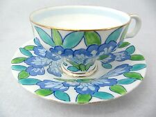 ROYAL DOULTON CUP AND SAUCER - HANDPAINTED BLUE CAMELLIAS- #4151 - pre 1930