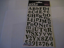 Scrapbooking Stickers Sticko Black Calent Alphabet Numbers Letters Large Small