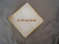 Antique Early 1900s 14K Gold Barrette Hair Bar with Pearls & Amethyst Sapphires