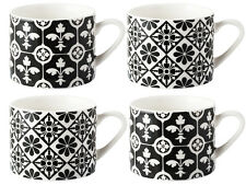 Set of 4 V&A Encaustic Tiles Squat FINE CHINA ESPRESSO MUGS