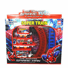 Cute Kids Children Baby Super Heroes Spider-Man Figures Electric Train Track Toy
