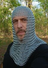 New Knight's Steel Chainmail Chain Mail Coif Armor Hood for Hauberk 10mm Butted