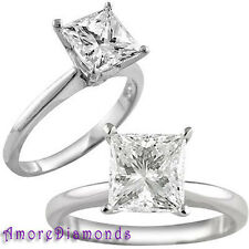 1.2 ct F VVS natural princess diamond solitaire engagement ring 14k white gold