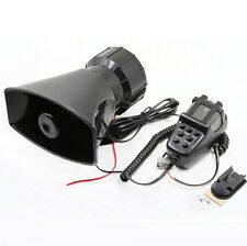 80W 12V Car Alarm Loud Speaker PA Siren Horn MIC Emergency Microphone 7 Sound