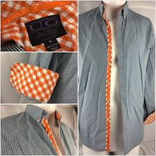 UG Purple Label Flip Cuff Shirt Small Blue Check Orange 100% Cotton YGI 48hh