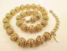 Monet Gold Filigree Ball Necklace Choker 1960's-70's Designer Costume Jewelry