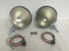 "Pair Dietz 7"" Stainless Street Rod HeadLight Lamp Buckets Assembly Wired Bullet"
