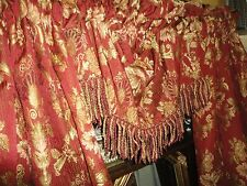 CROSCILL BALMORAL RED GOLD FLORAL JACOBEAN 6PC CURTAIN PANELS VALANCES TIEBACKS