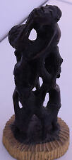 Vintage Makonde Tribe Sculpture, statue Ebony Wood African carving Folk Art