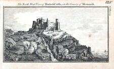 Gales Gales Castillo Merioneth Original Cobre Antiguo Grabado impresión c1770