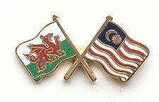Wales & Malaysia Flags Friendship Courtesy Enamel Lapel Pin Badge
