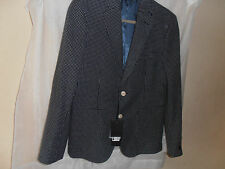 BNWT Gianni Feraud Formal Check Jacket Navy/White 100% Wool Size 38 rrp £250