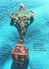 Vintage Sterling Silver Vermeil Egg Pendant Watch Charm Holder Pin Fleur-de-Lis