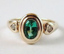 100% Genuine Vintage 9ct Yellow Gold 0.55 cts Emerald & 0.06cts Diamond Ring 7.5