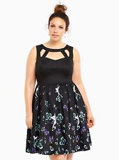Torrid Disney size 18 2X Tinkerbell Floral Swing Dress Womens Plus Black Nwot